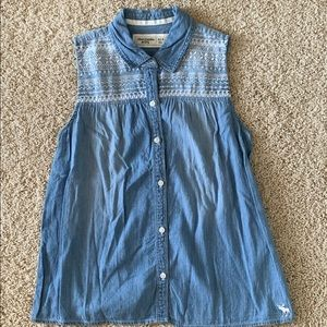 abercrombie kids Shirts & Tops - Abercrombie Kids Sleeveless Denim Buttondown